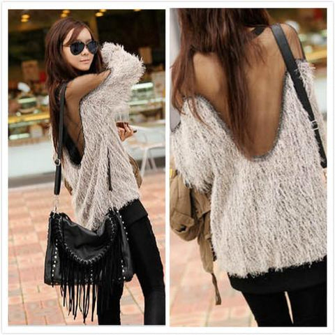 Mesh Patchwork Open Back Loose Sweater - Bags in Cart - 1