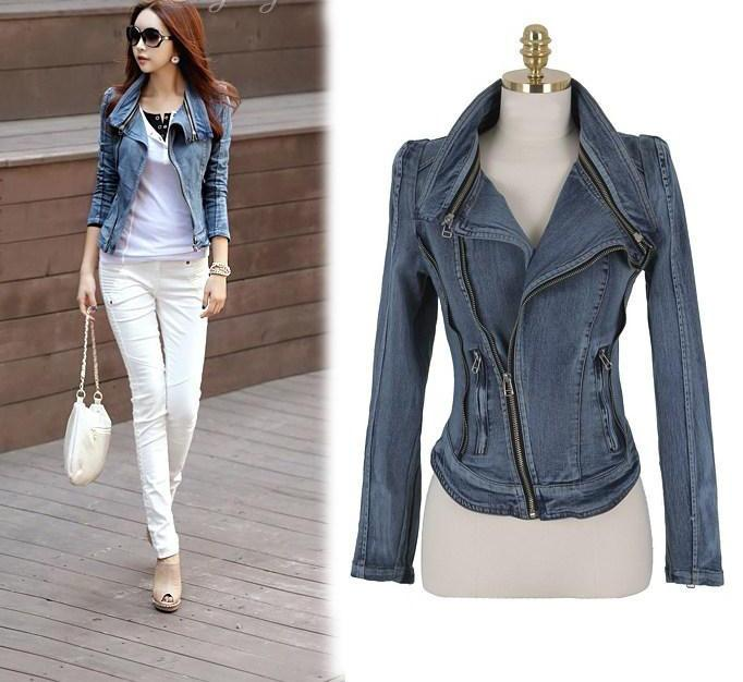 Slim Fit Zipper Long Sleeved Women's Denim Jacket - Bags in Cart - 1