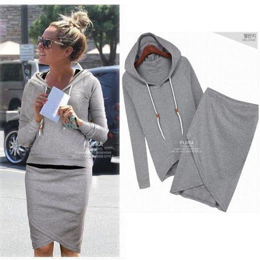 Two Pieces Sports Hoodie Knee-length Skirt Activewear Set - Bags in Cart - 1