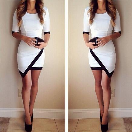 Slim Half Sleeve Patchwork Bodycon Mini Dress - Shoes-Party - 1