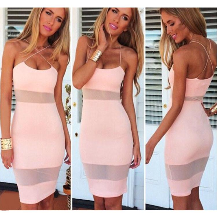 Mesh Stitching Bodycon Pencil Dress - Shoes-Party - 1
