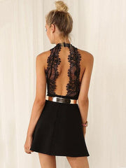 Lace Short Sleevees Short Dress