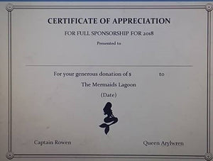 Certificate of Appreciation for Sponsorship