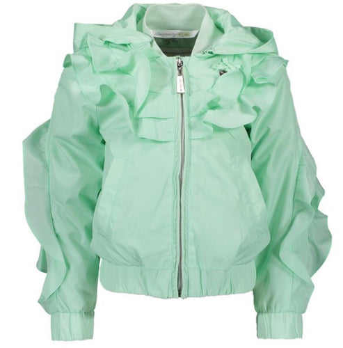 Le Chic Mint Green Ruffle Bomber Jacket