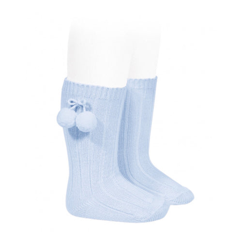 Knee High Blue Pom Pom Socks