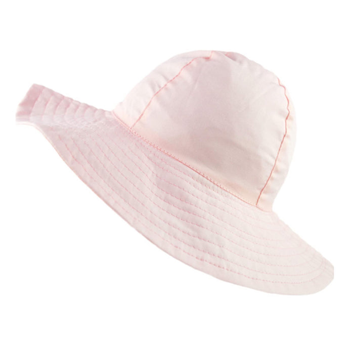 Girls Pink Wide Brim Summer Hat