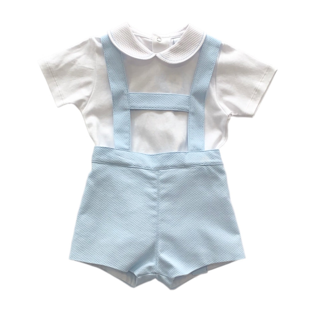 Sardon Blue/White 2 Piece Dungaree Set