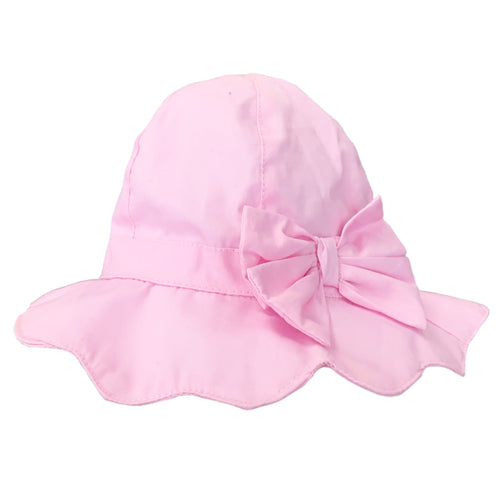 Girls Pink Bow Summer Hat