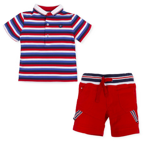 Tutto Piccolo Striped Polo and Red Short Set