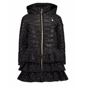Le Chic Girls Red Winter Coat with Navy Bows