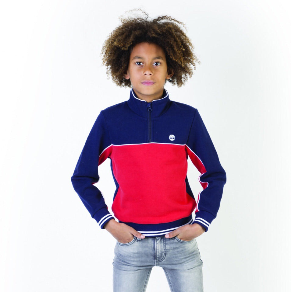 Timberland Navy and Red Zip up Sweatshirt