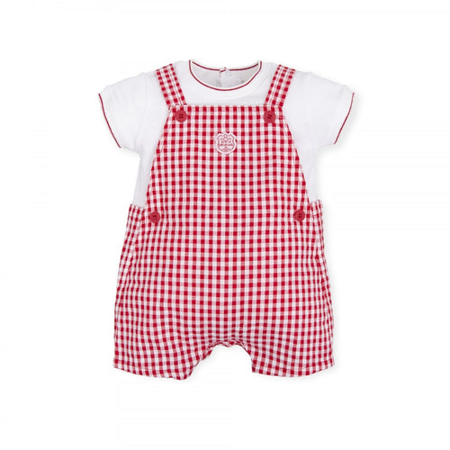 Tutto Piccolo Red Checked Dungaree Style Romper