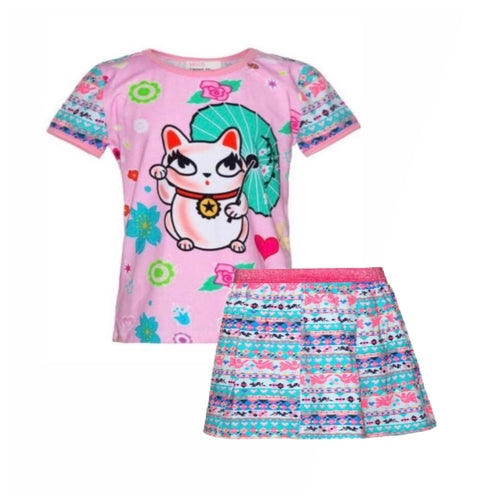 Mim-Pi Maneki-Neko Print Top and Skirt Set
