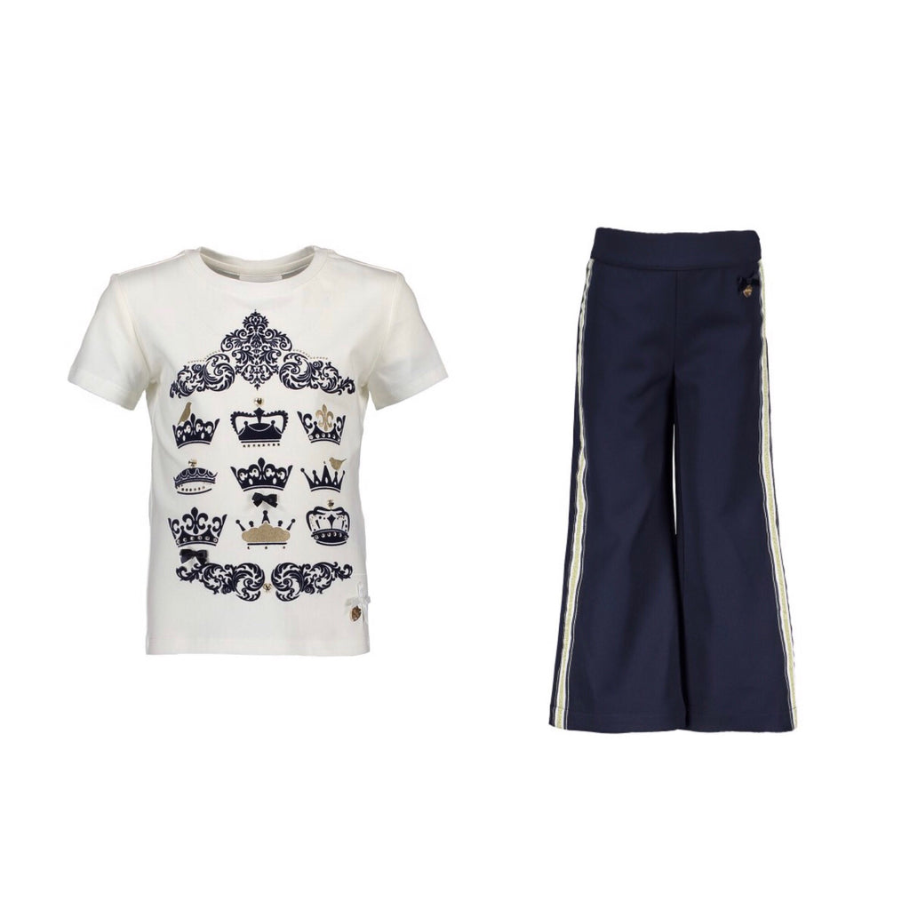 Le Chic Navy Flared Trousers and T-Shirt