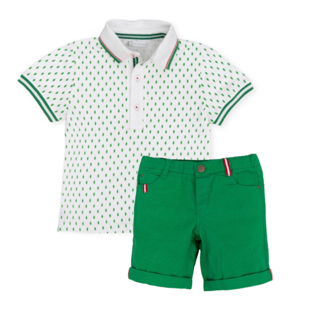 Tutto Piccolo White Spotty Polo and Green Short Set