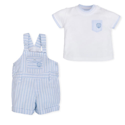 Tutto Piccolo White T-Shirt and Blue Striped Dungaree Set