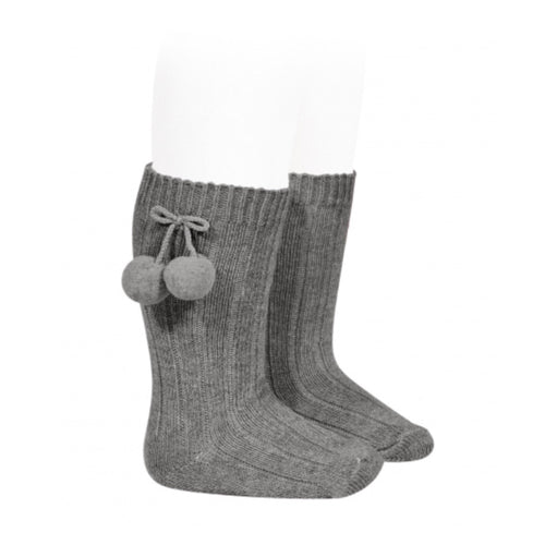Knee High Grey Pom Pom Socks
