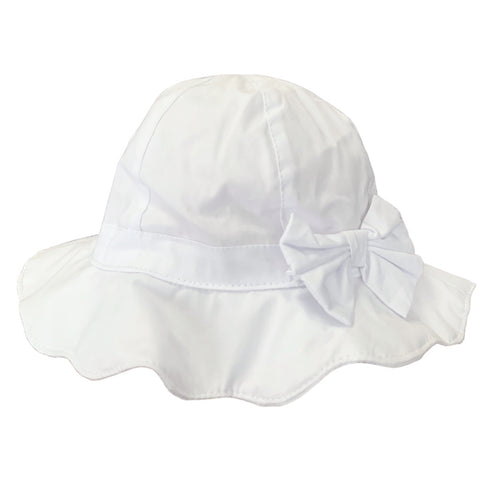 Girls White Bow Summer Hat
