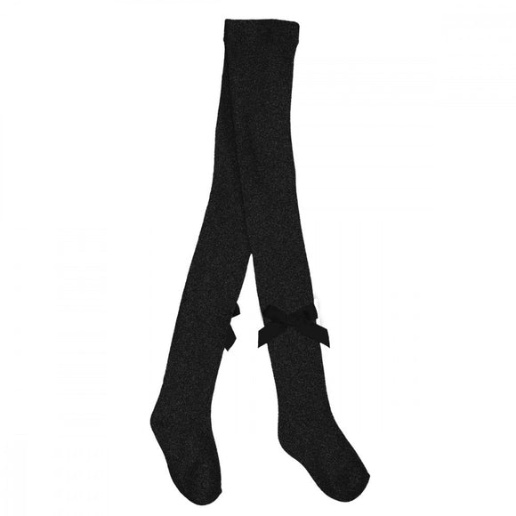 Pex Black Glitter Bow Tights