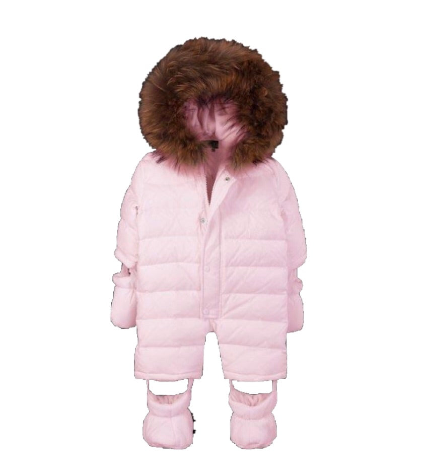Bomboogie Pink Real Fur Snowsuit