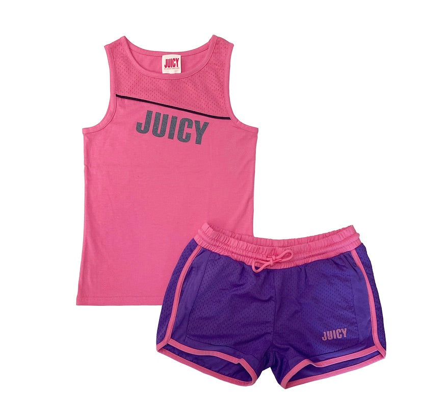 JUICY By Juicy Couture Pink/Purple Sporty Short Set