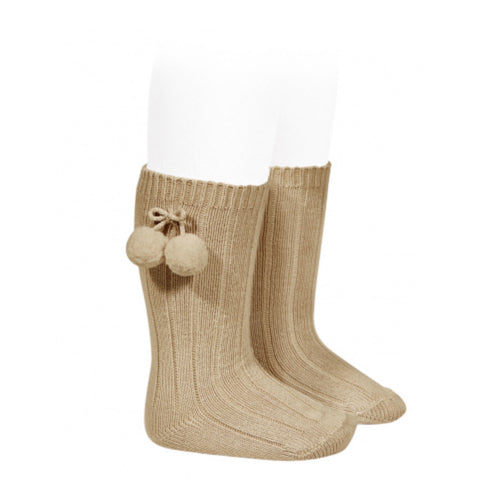 Knee High Camel Pom Pom Socks