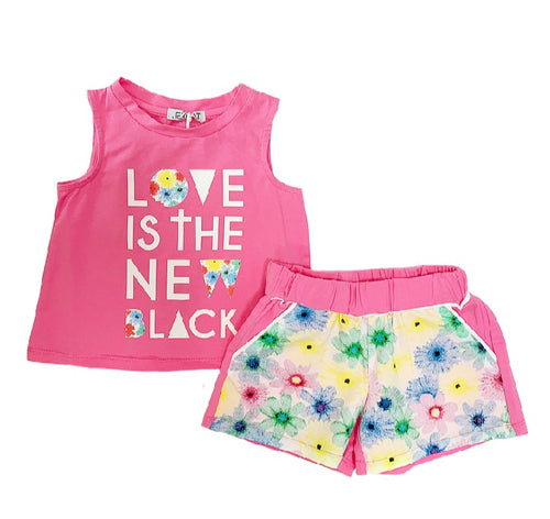 Jeycat Pink Flower Short Set