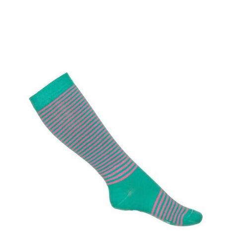 Mim-Pi Green and Pink Stripe Socks