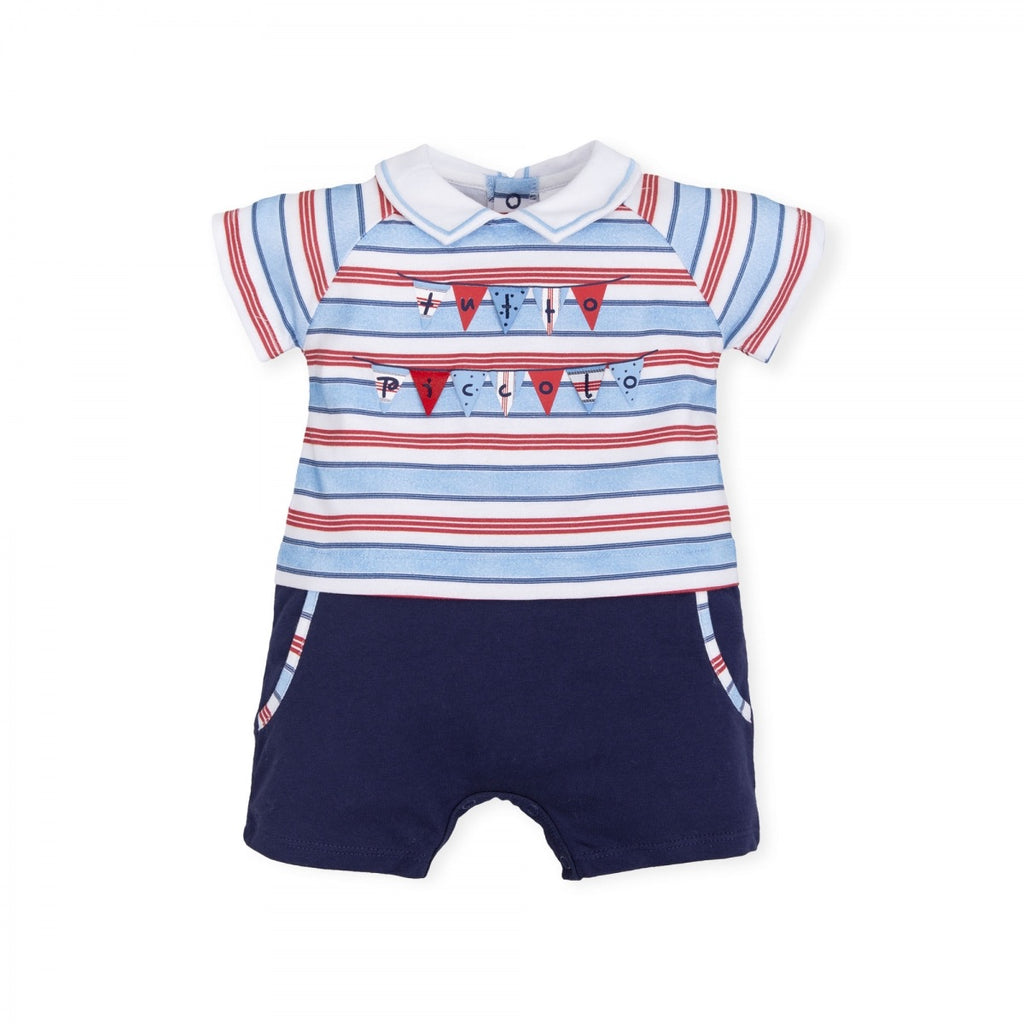 Tutto Piccolo Red and Blue Striped Romper