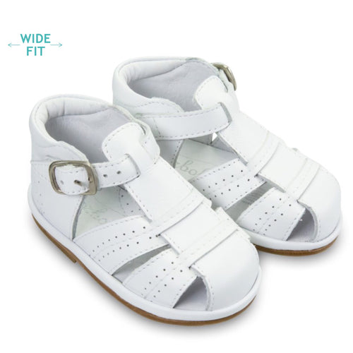 Borboleta White Leather Augusto T-Bar Sandal