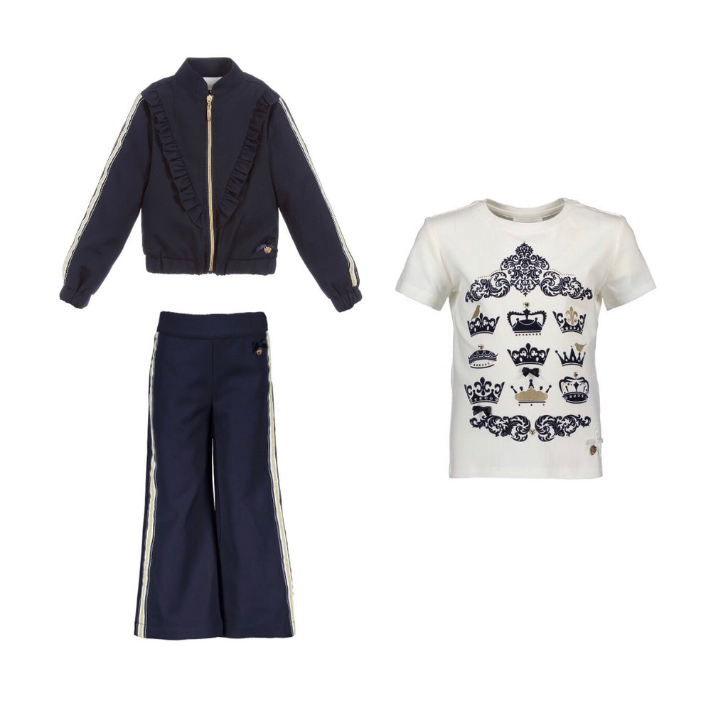 Le Chic Navy Flared Tracksuit