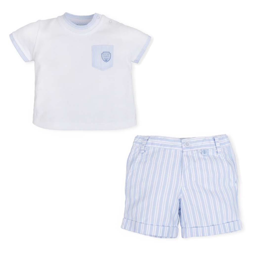Tutto Piccolo White T-Shirt and Blue Striped Short Set