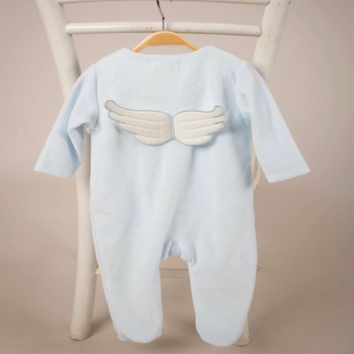 Blue Velour Winged Babygrow