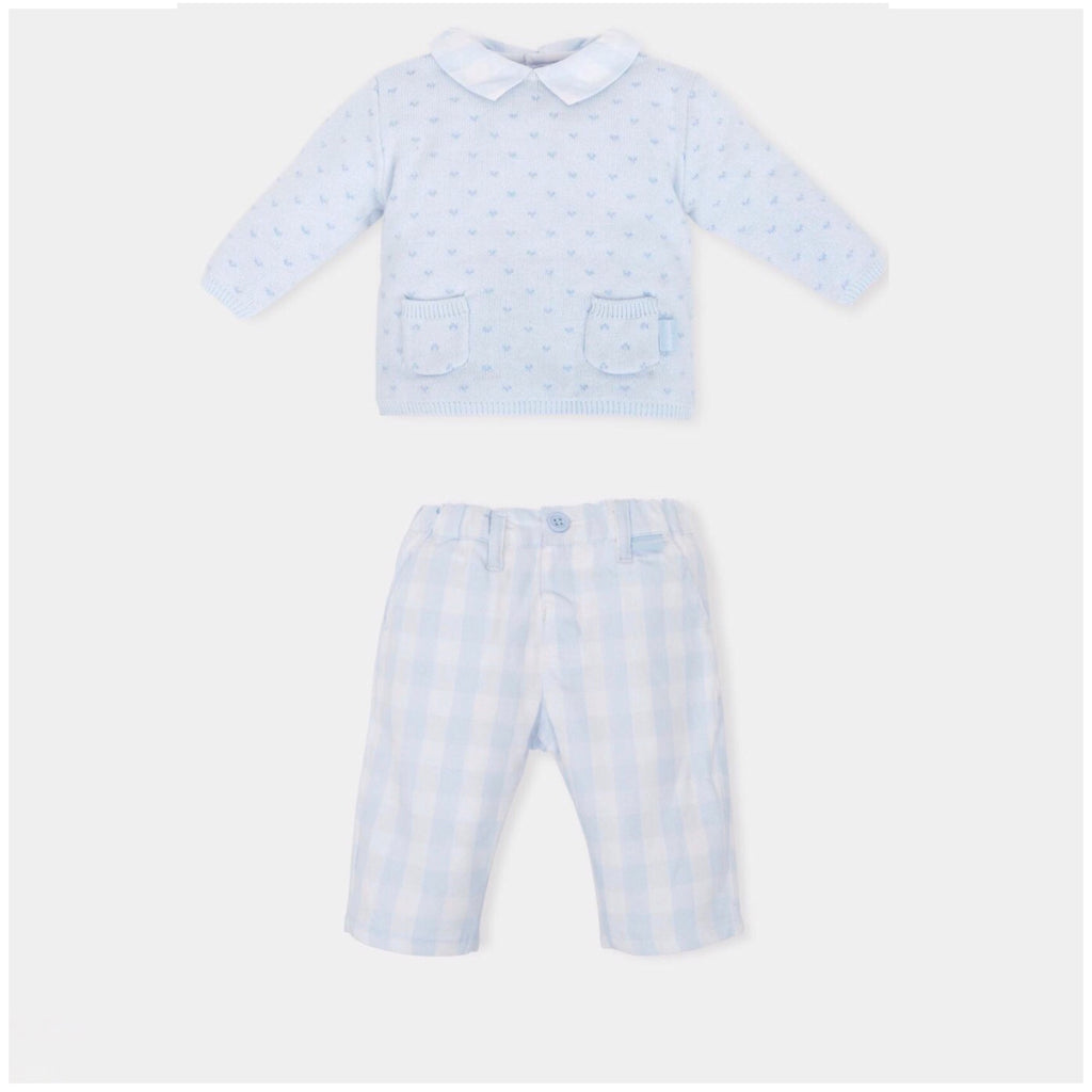 Tutto Piccolo Blue Jumper and Check Pant Set