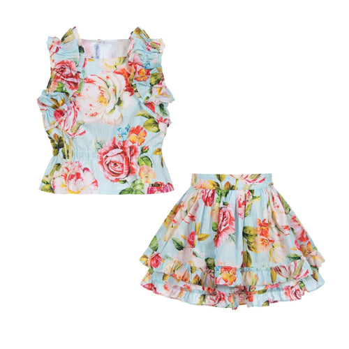 Pan Con Chocolate Flower Top and Skirt