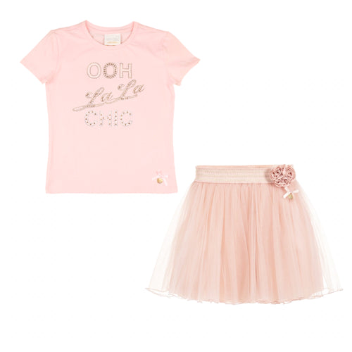 Le Chic Pink Skirt Set