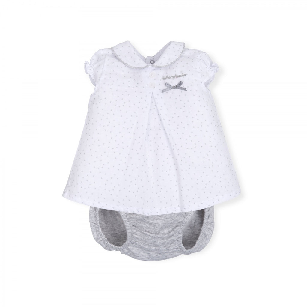 Tutto Piccolo White Spotty Dress and Grey Knickers