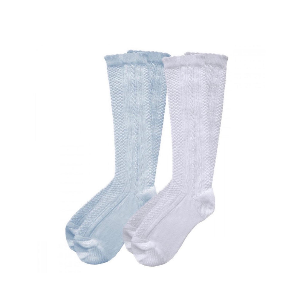 Pex White/Blue 2 Pack Ribbed Knee High Socks