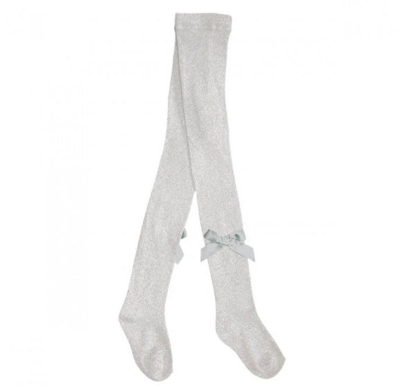 Pex Silver Glitter Bow Tights