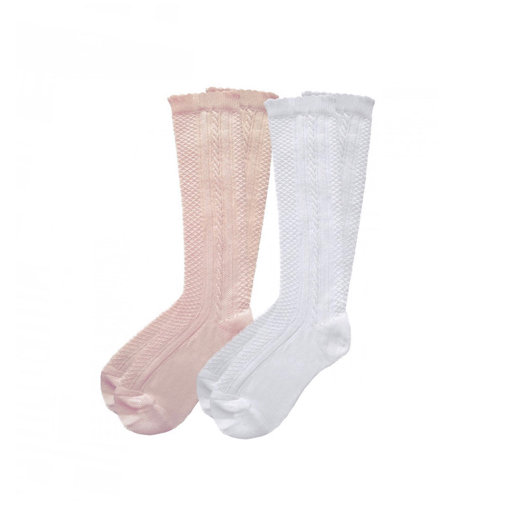 Pex Pink/White 2 Pack Ribbed Knee High Socks