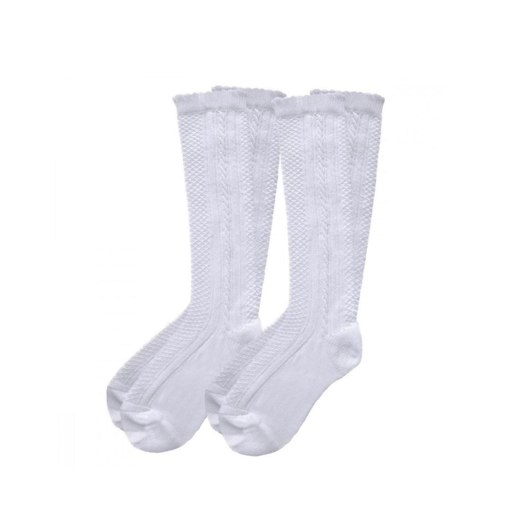 Pex White 2 Pack Ribbed Knee High Socks