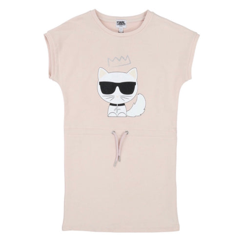 Karl Lagerfeld Pink Drawstring Cat Sweatshirt Dress