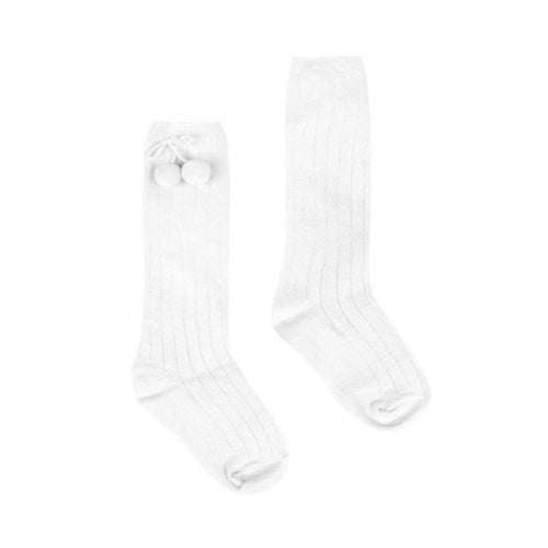 Pex White Pom Pom Knee High Socks