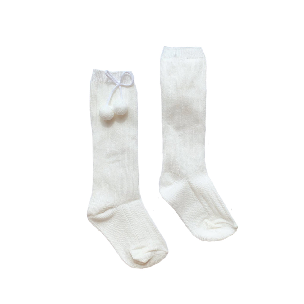 Pex Ivory Pom Pom Knee High Socks