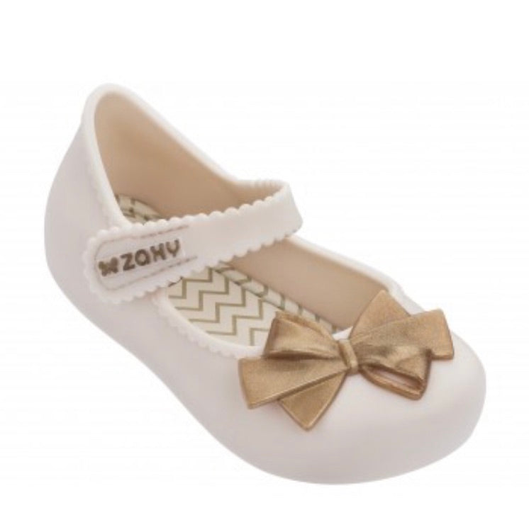 Zaxy Ivory Gold Bow Shoes