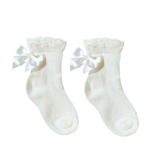 Pex Ivory Ankle Bow Socks