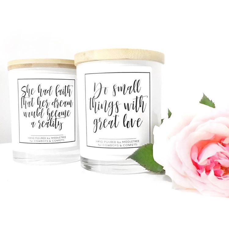 Hand poured Quote Candles