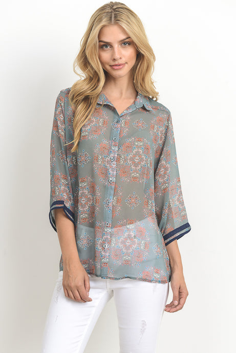 Spring Has Sprung - Floral Blouse in Blue or Mustard