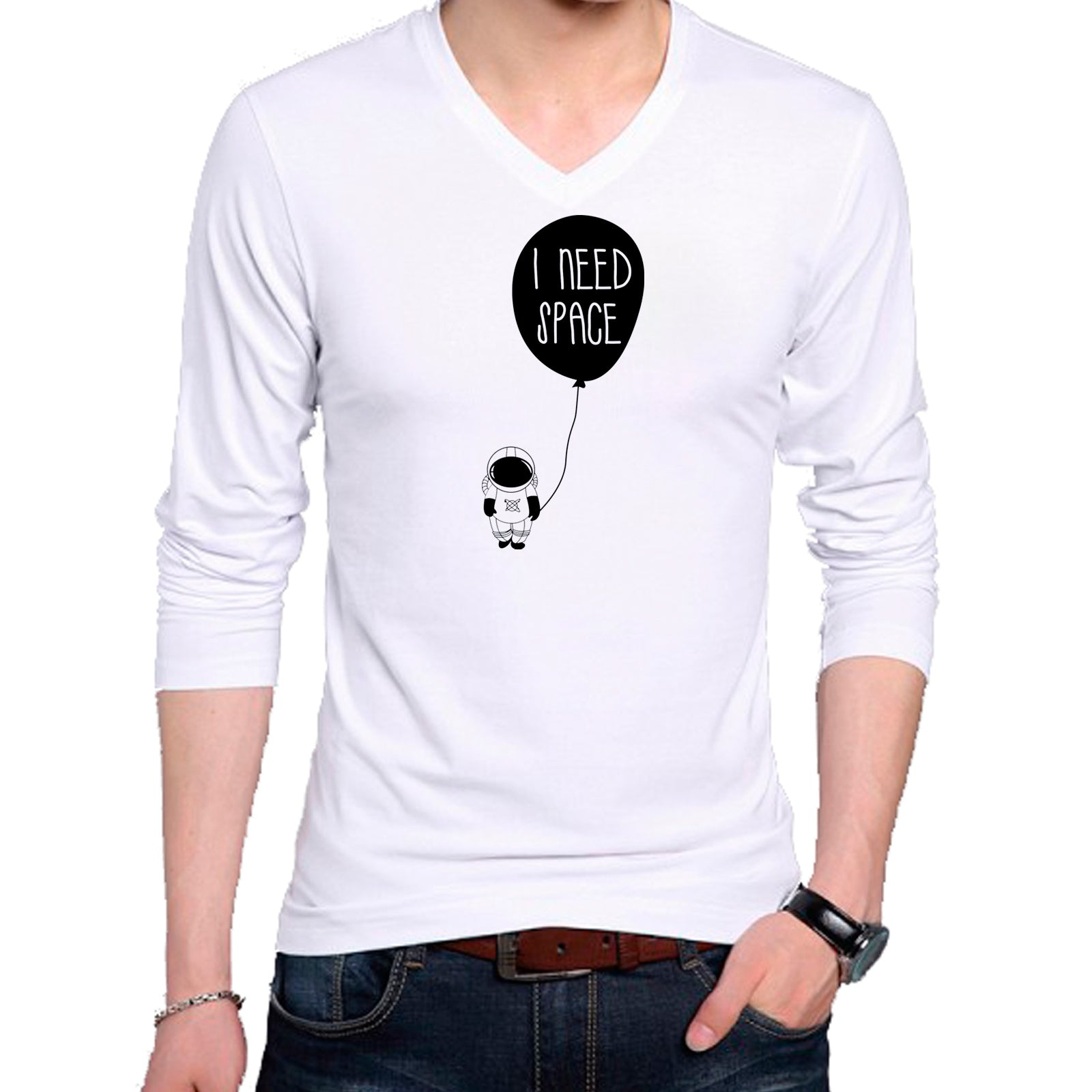 T Shirts for Men I Need Space White T Shirt V Neck Full Sleeve