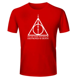 d0a9ce914 T Shirts for Men Harry Potter Quotes Texts Red White T Shirt Round Neck  Half Sleeve